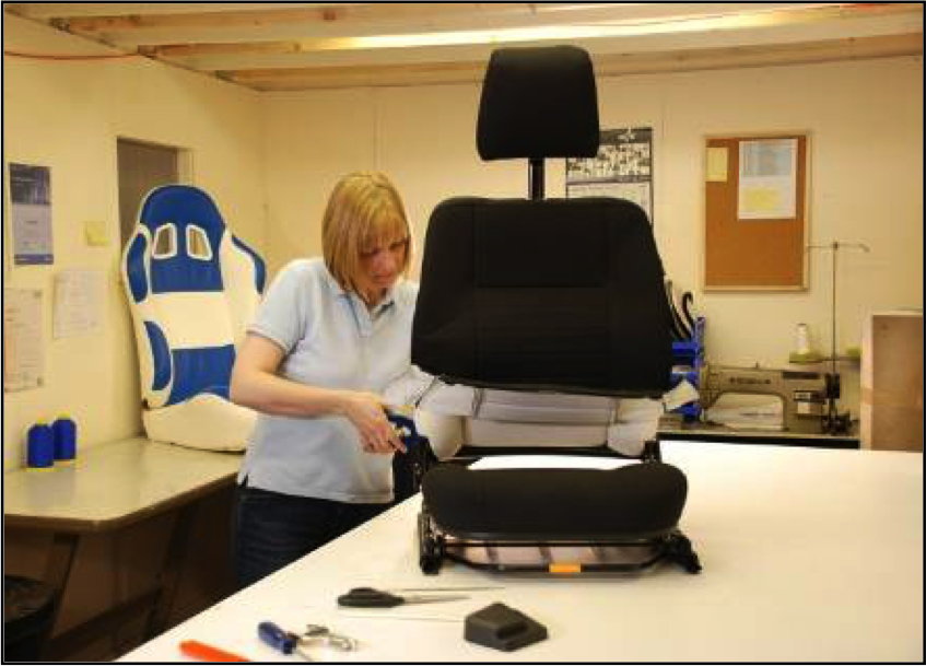 Award winning seat design - working on the seat trim